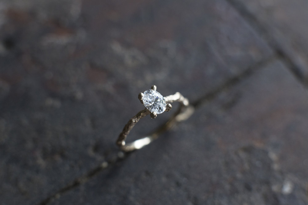 hand carved engagement ring