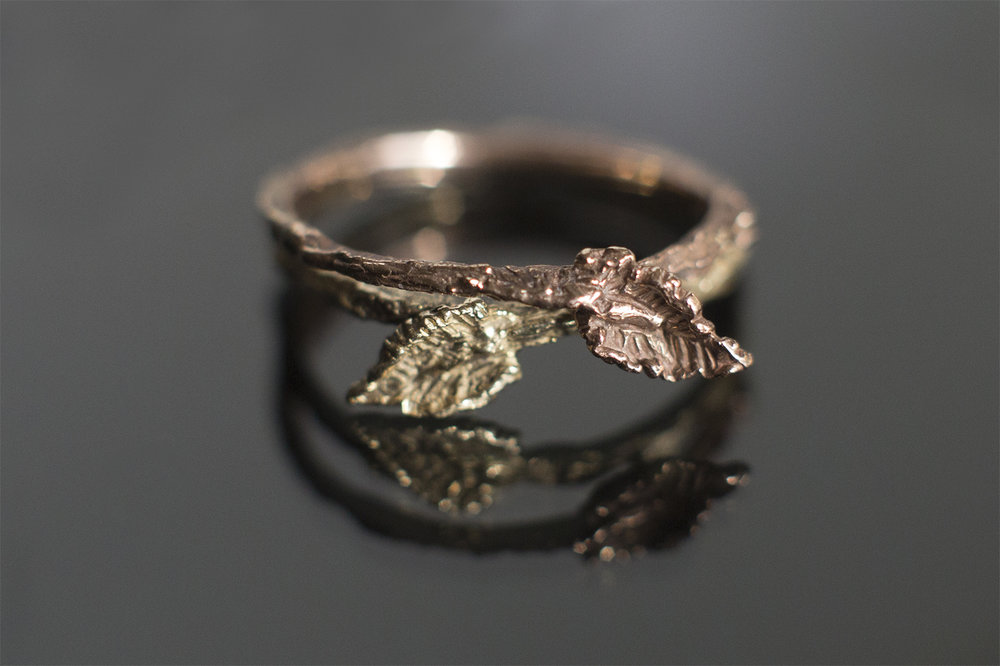 yellow and rose gold bridal rings