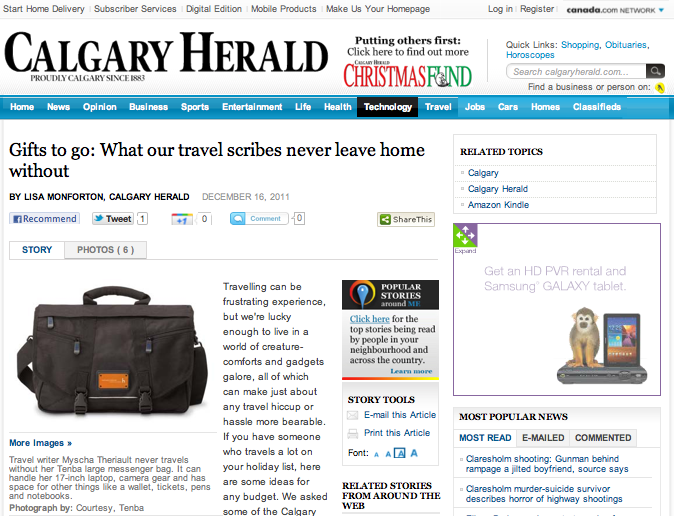 Interview - Calgary Herald December, 2011 The Calgary Herald asked Trip Styler's editor to list her travel must-haves for a gift guide for Gifts to go: what our travel scribes never leave home without.