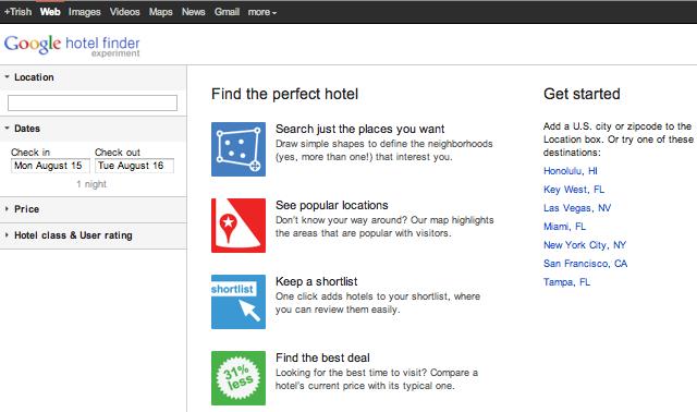 google hotel finder + review