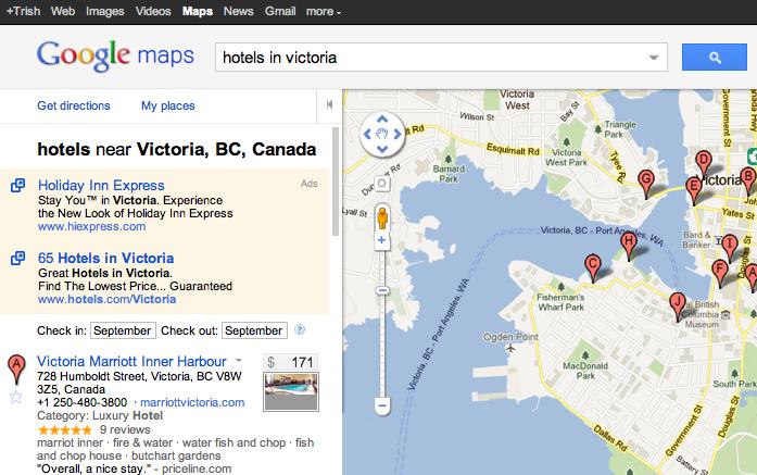 google hotel finder + maps