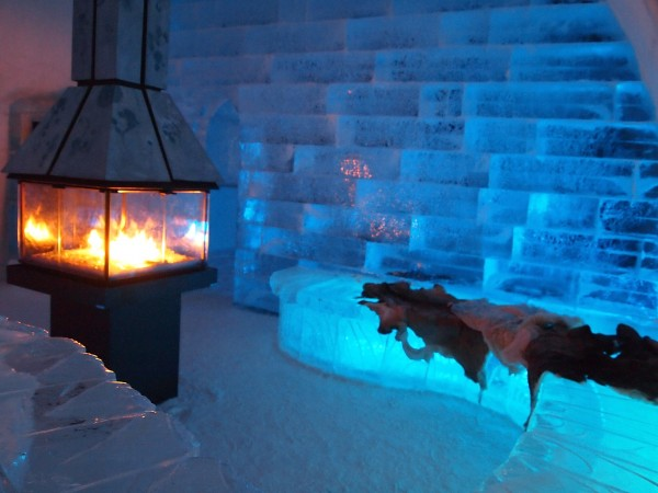 ice hotel indoor fire