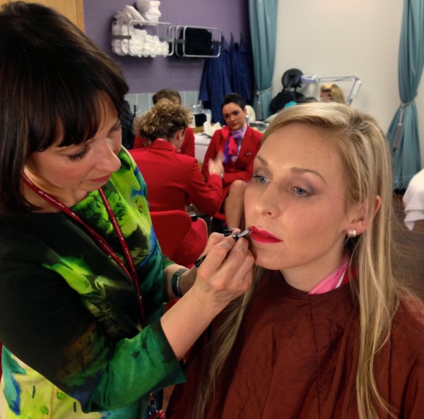 learning how to apply Virgin Atlantic makeup