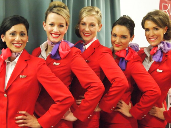 In class at Virgin Atlantic's London-Based Grooming School. I'm in the center.