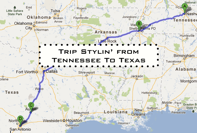 road trip from Tennessee to texas
