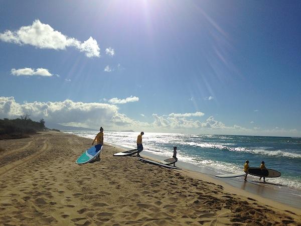 surfing with hawaiian fire