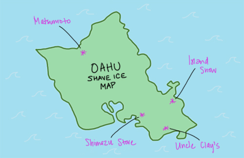 oahu shave ice map