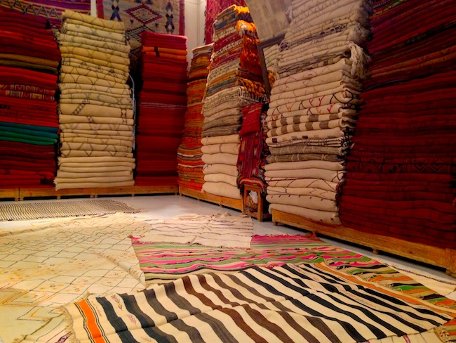 I started with 30 carpets. They were all placed on the floor by the carpet master. I whittled the lot down to eight winners. Then, I learned the cost was a few thousand for all of them. Buying a carpet in Morocco is like buying art. It takes a lot of time, consideration, cash and you must evaluate the apple of your eye in multiple exposures and perspectives before making a confident buying decision.