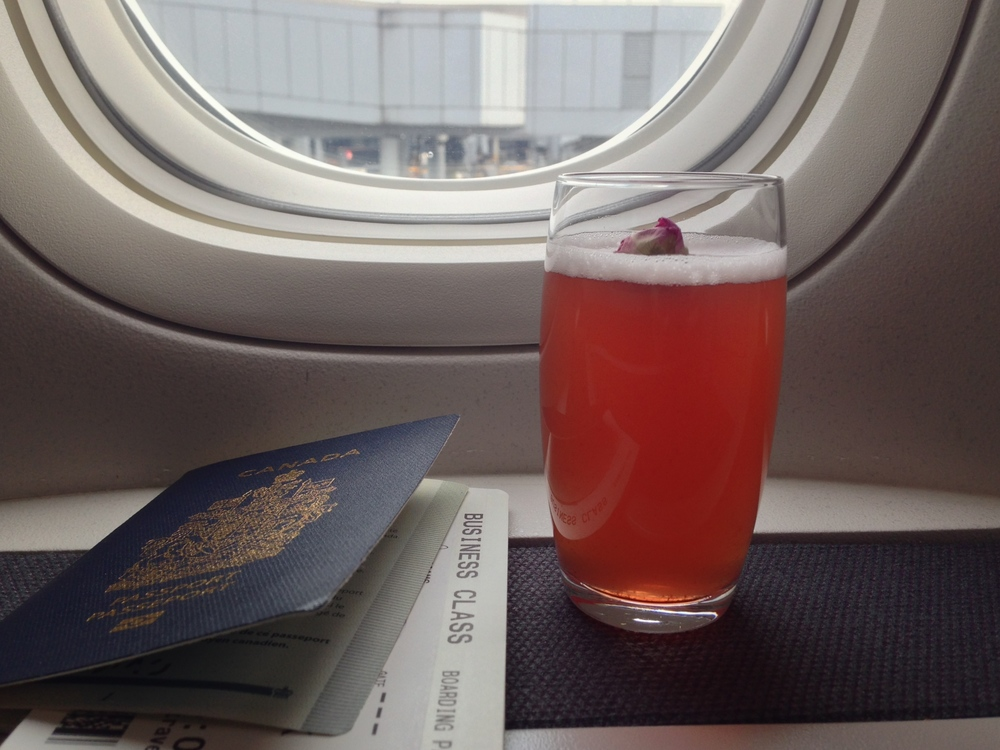 Before liftoff: Cathay's signature and antioxidant-enriching Original Breeze, combining sour plum tea and cranberry juice with honey, fresh lemon juice and rose water. It's as refreshing as it appears.