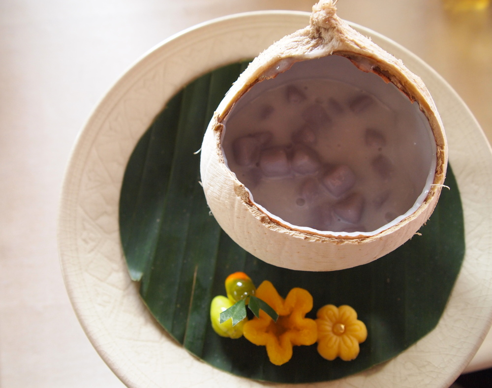 Dessert: sweet coconut soup with taro pearls