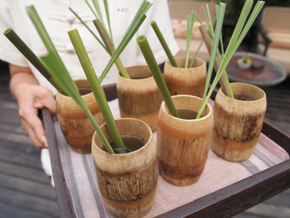 Welcome drinks served in hand-carved bamboo tumblers