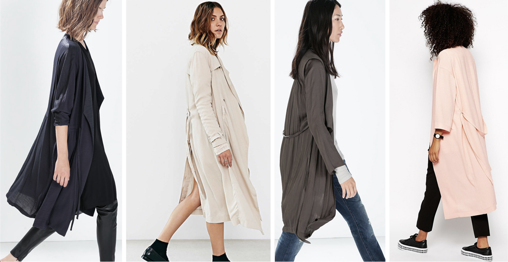 From left: Zara flowy gathered coat with belt, Urban Outfitters drapey trench coat, Zara destructured trench, Monki duster coat