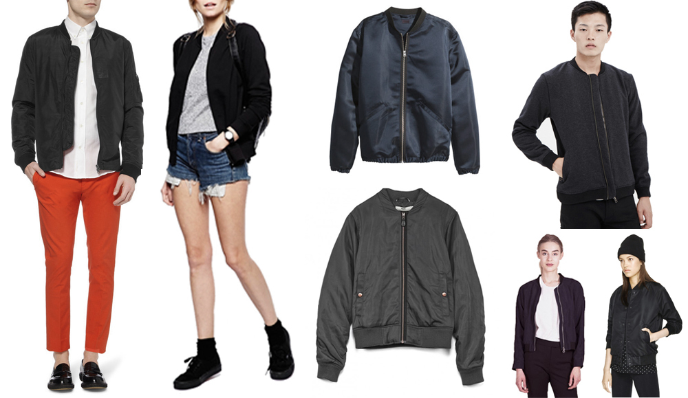 Clockwise from left:   Acne Studios   lightweight bomber jacket  , ASOS   bomber jacket with zip  , H&M   satin pilot jacket  , Won Hundred   anthracite melange leroy jacket  , Aritzia   salvatore jacket  , Minimarket   hapy navy blue jacket  , Hope   flight jacket