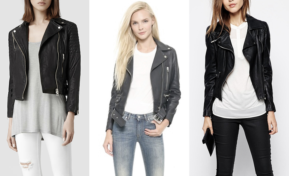 From left:  Allsaints   papin leather biker jacket  , Acne Studios   mock leather moto jacket  , Karen Millen   leather jacket with silver zip sleeves