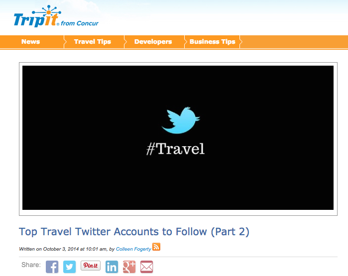 Mention - Top Travel Twitter Accounts by Tripit October, 2014 Tripit, makers of the world's easiest travel itinerary management app, put together a list of the most influential twitter accounts. Trip Styler is ecstatic to make an appearance alongside major travel influencers like Rick Steves and Peter Greenberg.
