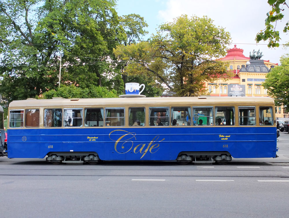 Vintage café tram on the No 7 Djurgården Line