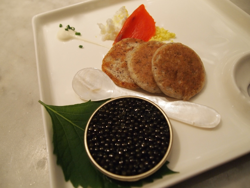Araxi Big Guns. Sunshine Coast-based Northern Divine certified organic black caviar with buckwheat blini and wild smoked salmon.