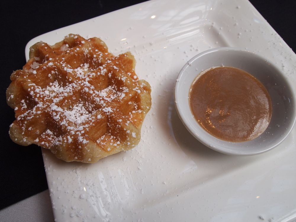 Culinary Stage Series: Café Medina. Ending the session with Medina's cult-following Liège waffles accompanied by a peach-bourbon-butterscotch sauce.