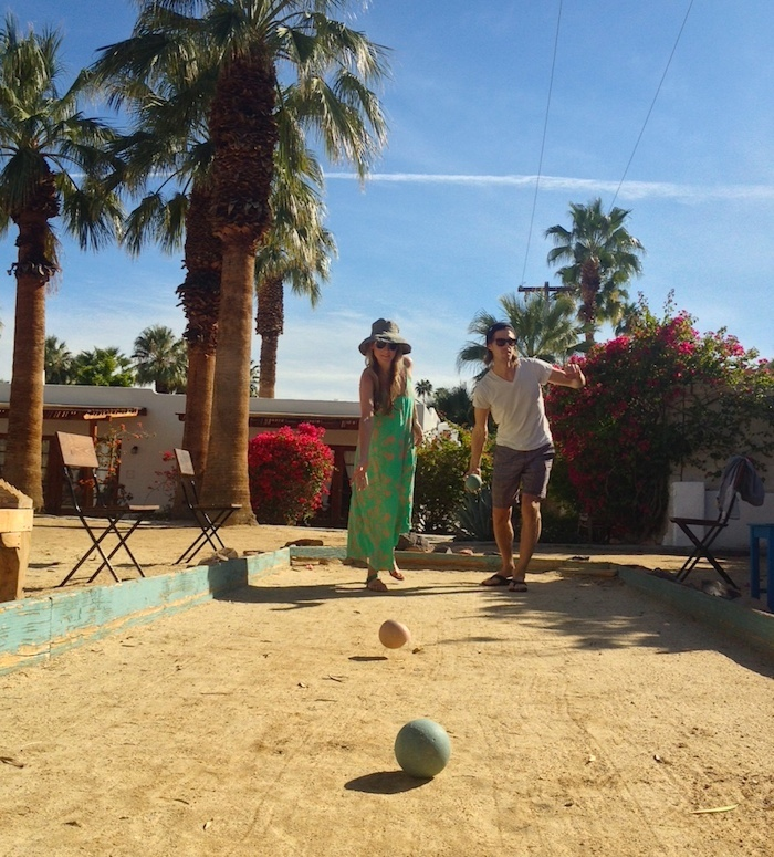 Palm Springs. Playing petanque with Mr. Trip Styler at Korakia Pensione.