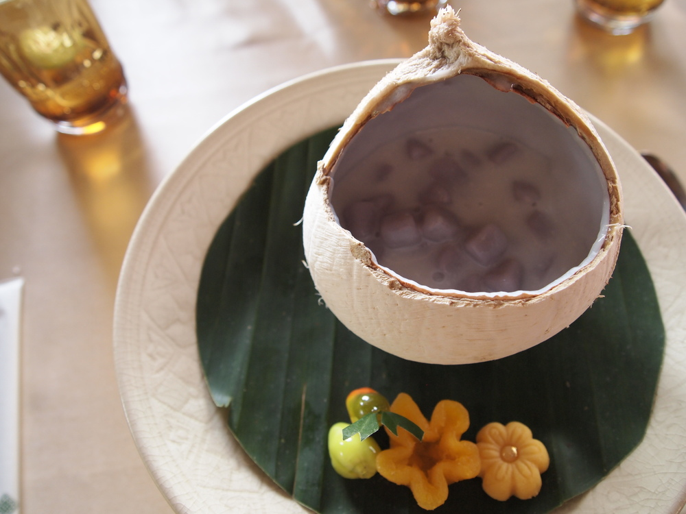 Thailand. One of the best desserts I've ever tasted: Sweet coconut soup with taro pearls at the Four Seasons Resort Chiang Mai.