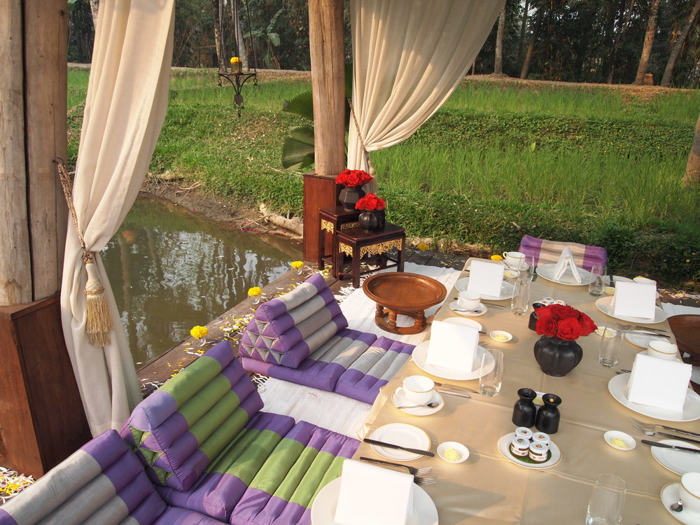 Thailand.  Breakfast in the Four Seasons Resort Chiang Mai's {ritzy} rice barn.