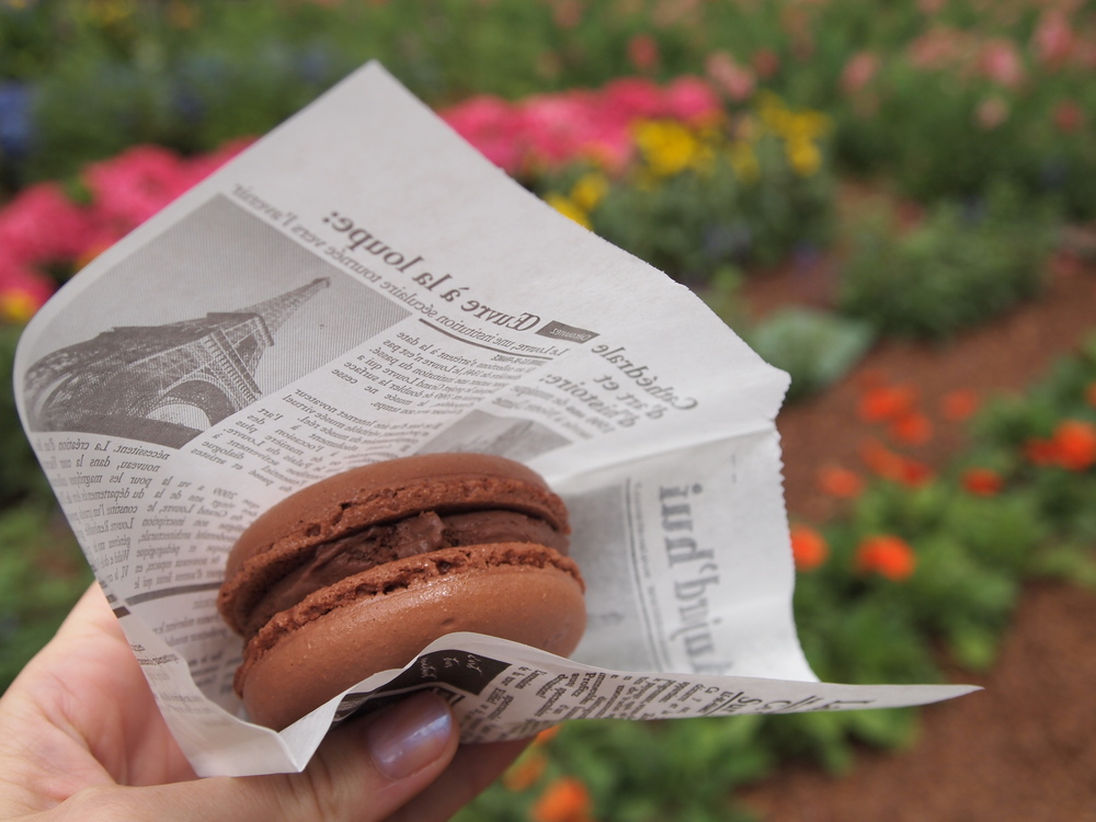 Walt Disney World. Where cream and crunch have a baby and birth this chocolate ice macaron. Find it in the France Pavilion in Epcot's World Showcase.