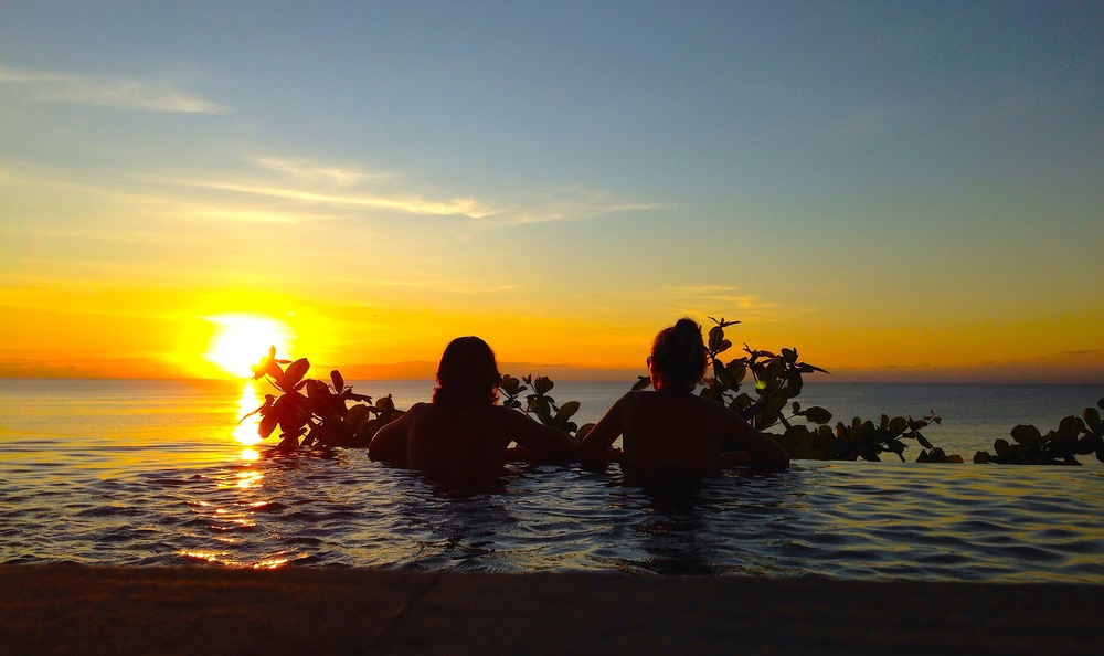 Bali. Watching the sun set from the cliff-carved infinity pool at AYANA Resort.