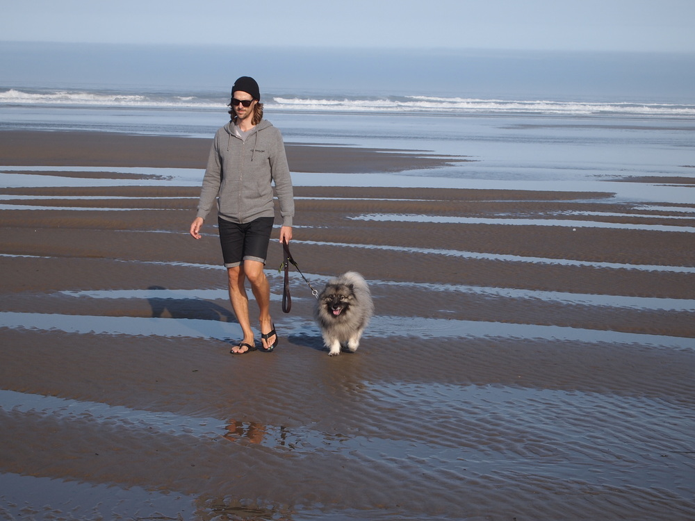 Oregon. Mr. Trip Styler and Dog Styler on Cannon Beach.