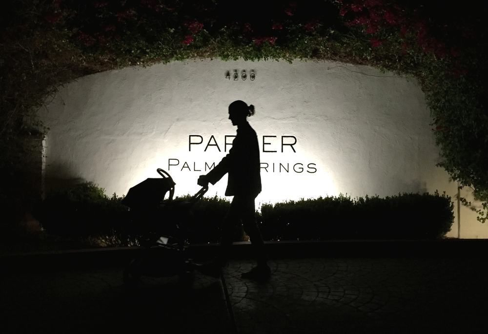 Heading back to our hotel after a tipple at one of our all-time chart-topping stays, the Parker Palm Springs.
