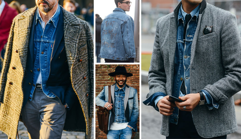 how to wear a jean jacket with a sweater