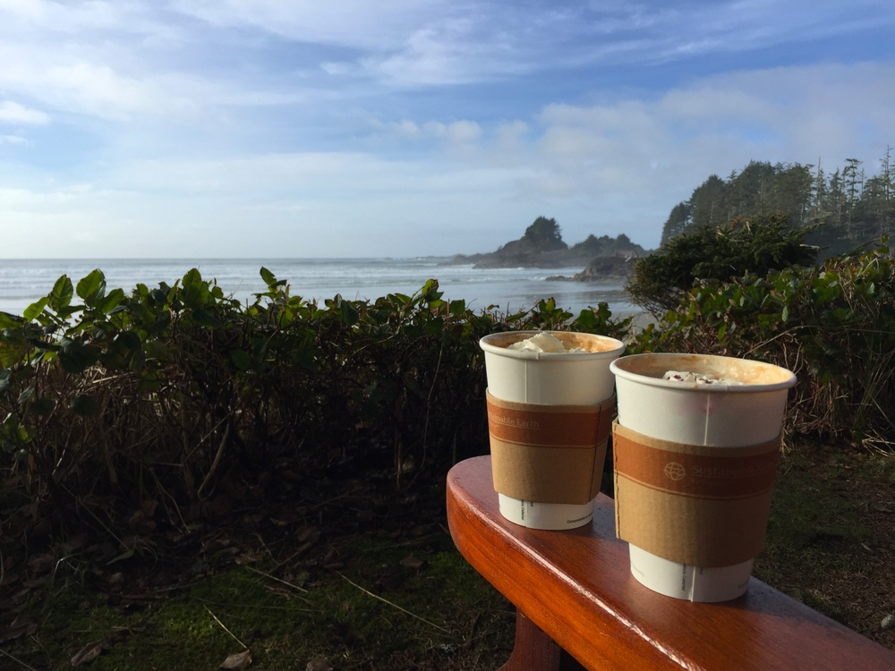 Coffees from the resort's Beans on the Beach Espresso Bar featuring Victoria-based Caffe Fantastico beans {voted one of Canada's best boutique roasters}
