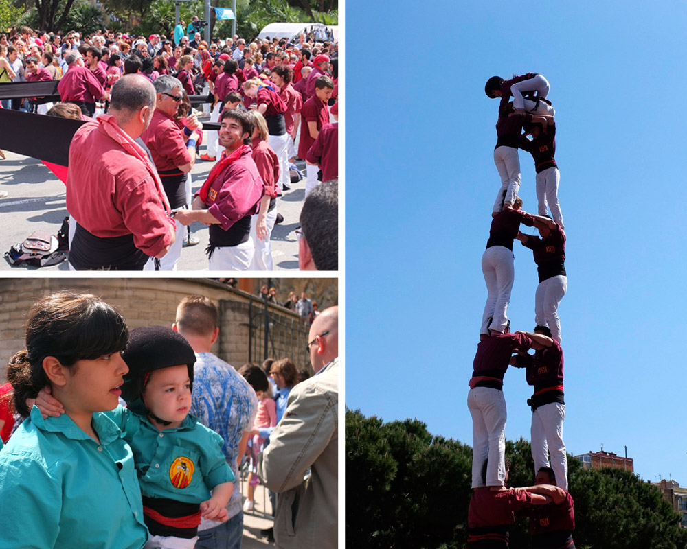 Six-story human tower {castell}, Catalan festival