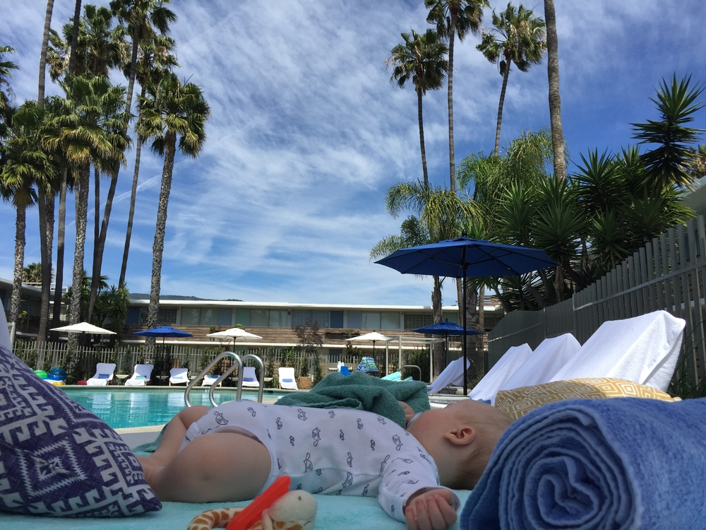 Baby Styler chillin' at the pool surrounded by a mountain of pool pillows and towels.