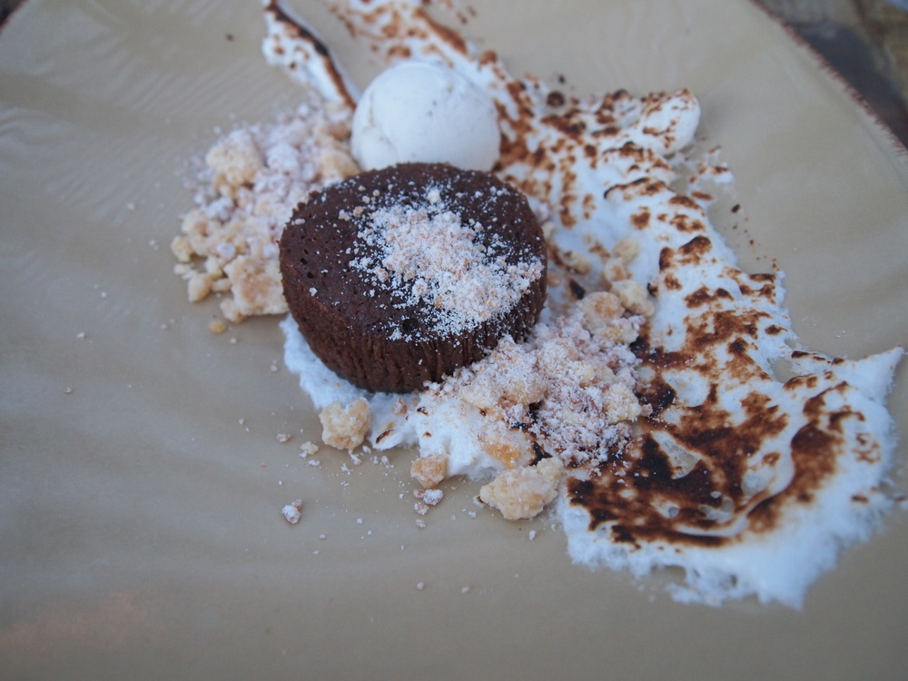 Outpost: Steamed chocolate cake with roasted marshmallow and vanilla gelato