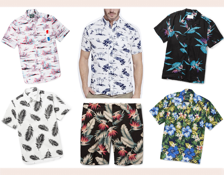 Men   Clockwise from top left:  Gitman   3-D short sleeve shirt  ,   Burkman Bros   hawaiian scenic printed shirt  ,   Sandro   printed poplin shirt  ,   Gitman   aloha camp shirt  , Freemans Sporting Club   slim-fit floral-print shorts  , Ovadia & Sons   palm-print shirt