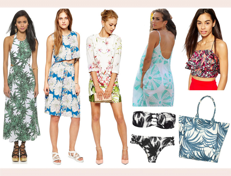 Women    Clockwise from top left:   Mara Hoffman   cutout tie back dress  , Brave Soul   hawaii tropical 2-piece set  ,   Ted Baker   tunic dress  ,   Otaheite Hawaii   hulali mini  ,   Daisy Street   crop top  ,   House of Hackney   giant canvas tote  ,   Mikoh   printed bikini