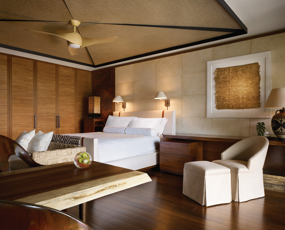 The new rooms: sleek, earthy and upscale with teak throughout and finishes fit for a king