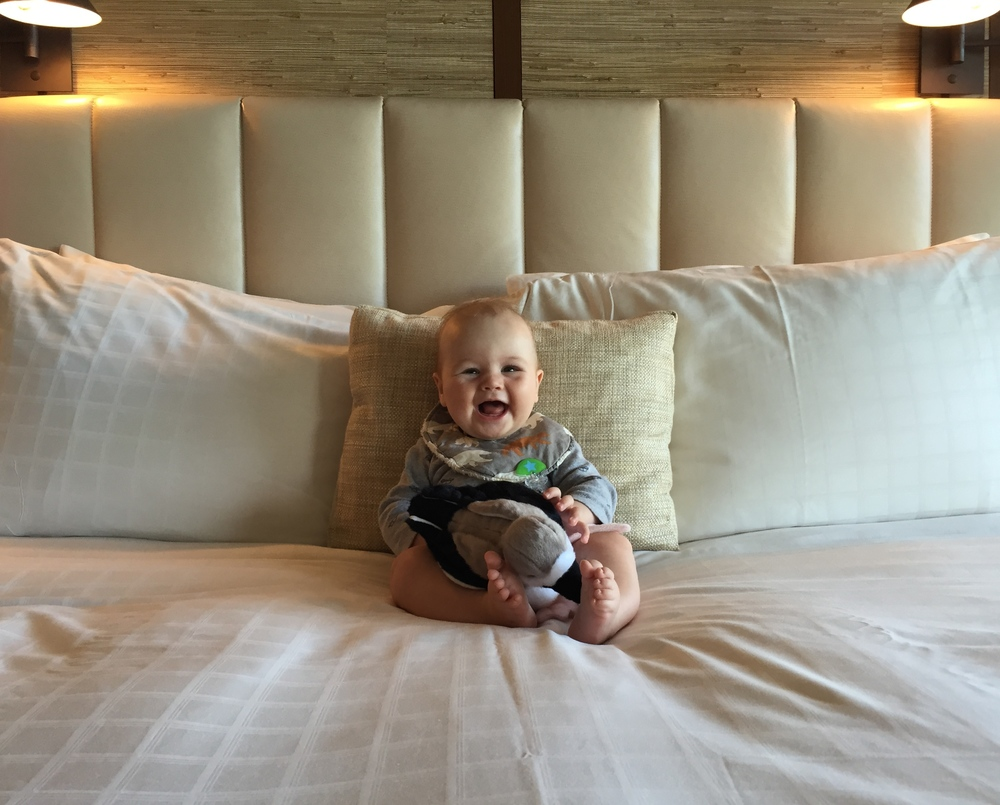 We take a photo of Baby Styler on the bed of every hotel; this shot is one of our favorites.