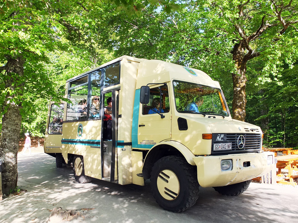 "For a Euro-Disney-meets-Jurassic-Park experience, take a ""train"" {which the park calls its shuttle buses} from the top of the Upper Lakes back to the park entrance."