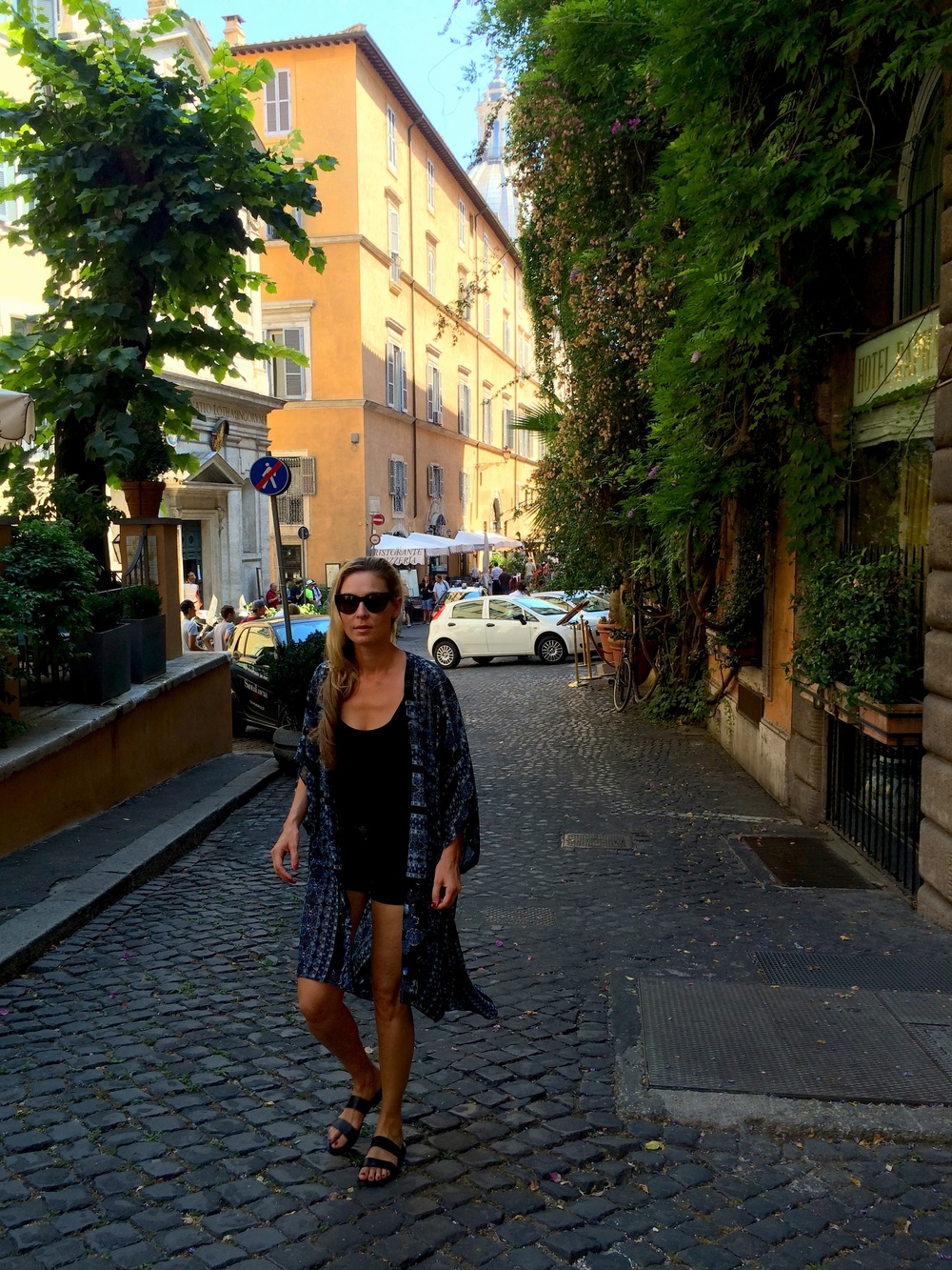 Wearing made-to-fit Capri sandals in Rome.