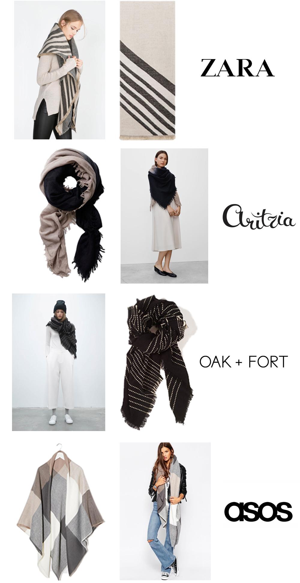 """-Zarasoft geometric scarf {$40 / 51 x 55"""" /100% acrylic} -Aritziagloomy days blanket scarf {$85 / 51 x 63"""" /100% wool} -Oak & Fortblanket scarf {$48 / 62 x 62"""" /100% acrylic} -asosoversized square scarf {$40 / 59 x 59"""" /100% acrylic}"""