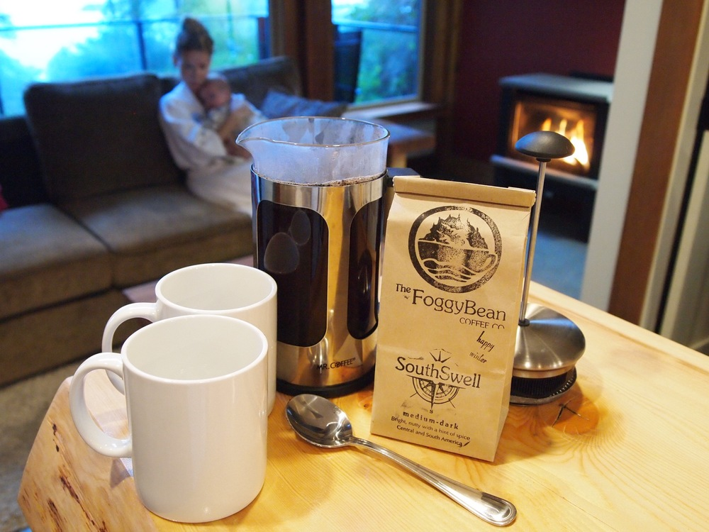 About to enjoy some locally roasted morning coffee in Ucluelet at Wya Point Resort.