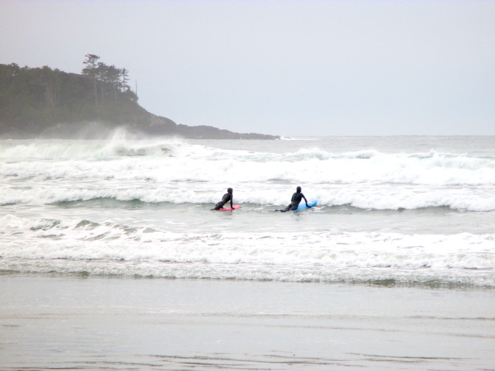 Learning to surf with Roxy-sponsored surfer Catherine Bruhwiler of Tofino Paddle Surf. Read more about it in my article, Surfing the Canadian Coast, in the Expedia Viewfinder.