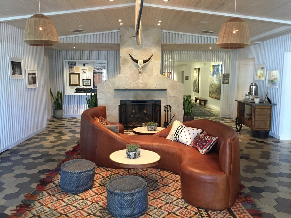 The lobby of  The Goodland , a So-Cal stay that channels the Pacific Coast's easy-breezy beach vibes in every space.