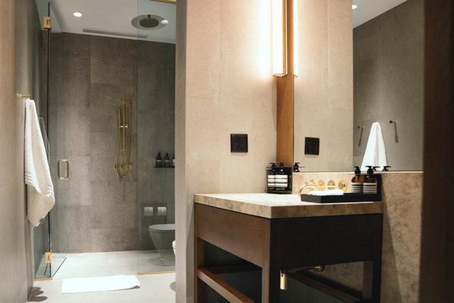 Shower rooms bathed in limestone and minted with brass fixtures and Aesop products offer a spa-like foray into flying.