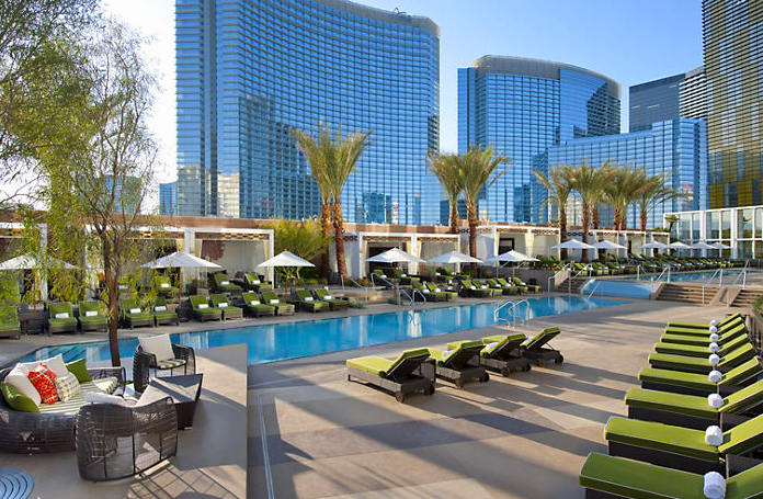 The serene pool scene at the Mandarin Oriental Las Vegas.