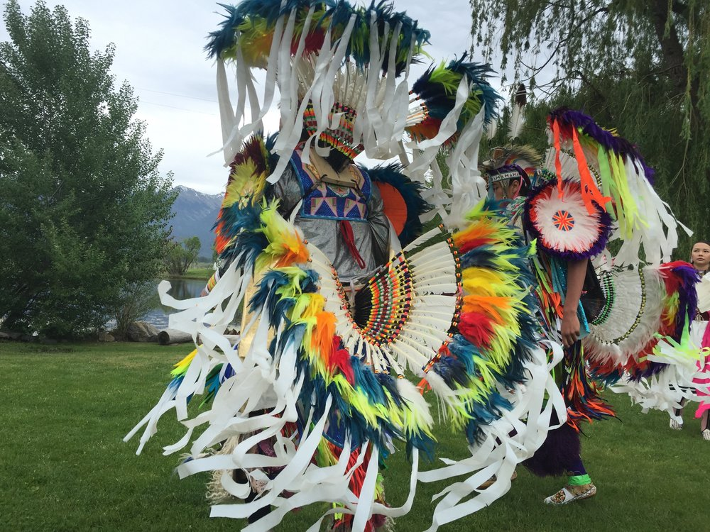 Watching award-winning Native American and First Nations dancers from the USA and Canada at Ninepipes Lodge as they celebrate and prepare for summer powwows. Note that every stitch and piece of their traditional dress is made by hand.