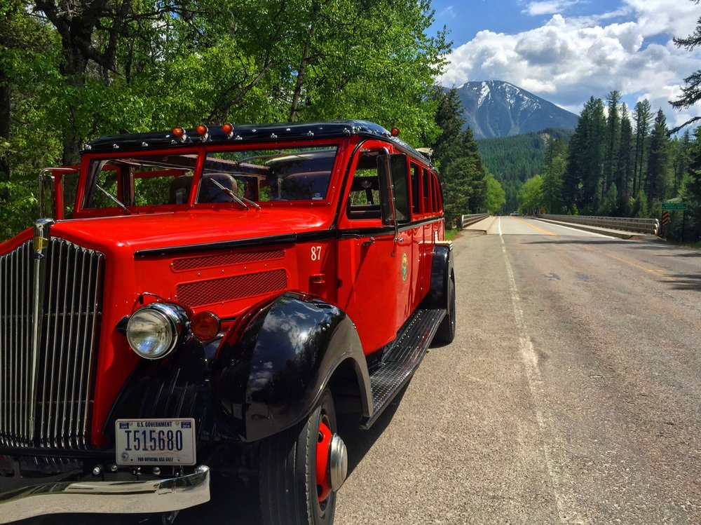 Beep beep! All aboard the vintage  Red Bus  tour — so retro the fleet has been in service since 1914 — of Glacier Country.