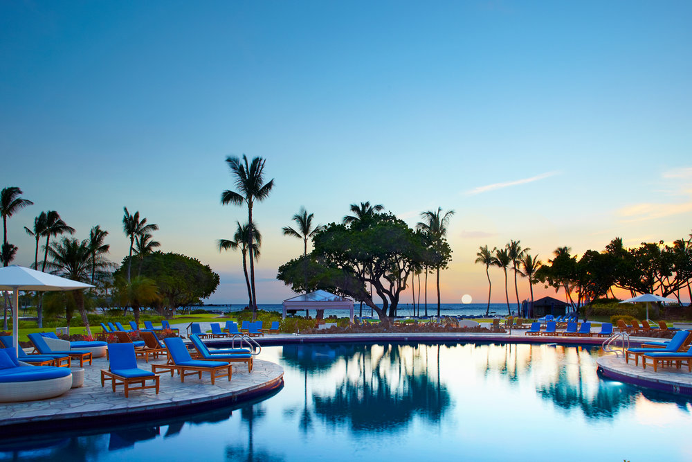 The pool at twilight.