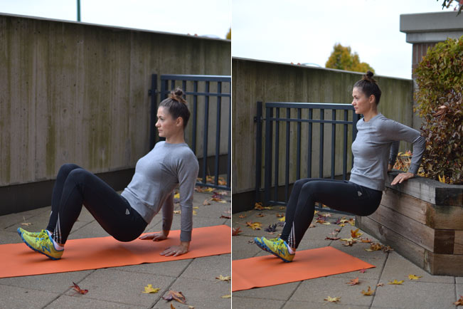 4. Tricep dips   *Do this exercise on the floor, or make it more challenging by placing your hands on a secure ledge or chair to increase the range of motion. Don't let your shoulders creep up toward your ears.